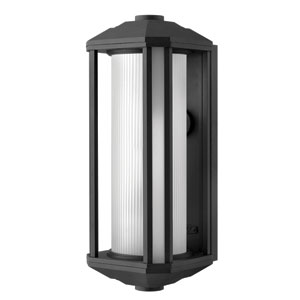 Castelle Black One-Light Large Fluorescent Outdoor Wall Light