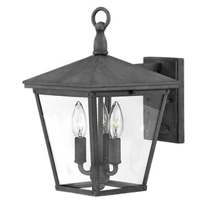 Trellis Aged Zinc Three-Light Outdoor Wall Mount