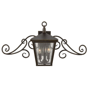 Trellis Regency Bronze LED Outdoor Wall Sconce with Swirl Detail
