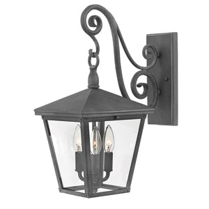 Trellis Aged Zinc Three-Light Nine-Inch Outdoor Wall Mount