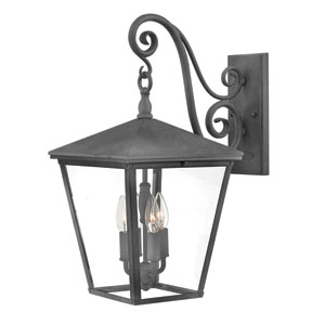 Trellis Aged Zinc Three-Light 11-Inch Outdoor Wall Mount