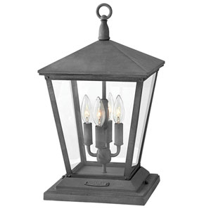 Trellis Aged Zinc 11-Inch Four-Light Outdoor LED Post Top and Pier Mount