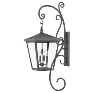 Trellis Aged Zinc 16-Inch Four-Light Outdoor Extra Large Wall Mount