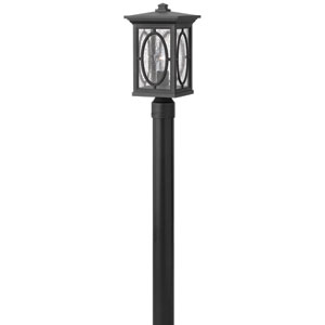 Randolph Black 16-Inch Etched Seedy Glass Panel One-Light Outdoor Post Mount