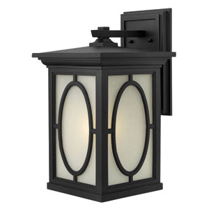Randolph Black 19.5-Inch Bold Oval Pattern One-Light Outdoor Wall Light