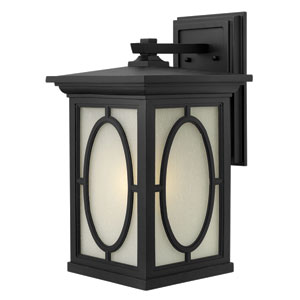 Randolph Black 19.5-Inch LED Clear Seedy Glass Panel One-Light Outdoor Wall Light