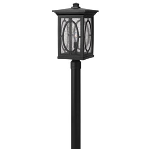 Randolph Black 21-Inch Clear Seedy Glass Panel One-Light Outdoor Post Mount