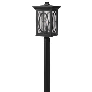 Randolph Black 21-Inch LED Etched Seedy Glass Panel One-Light Outdoor Post Mount