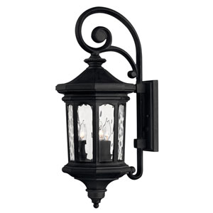 Raley Museum Black 10-Inch Three-Light Outdoor Medium Wall Mount