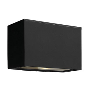 Atlantis Satin Black Small Pocket Down One-Light Outdoor Wall Light
