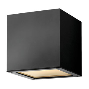 Kube Satin Black Seven-Inch LED Outdoor Downlight Wall Mount
