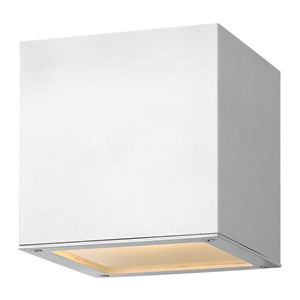 Kube Satin White Seven-Inch LED Outdoor Wall Mount