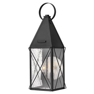 York Black Medium Outdoor Wall Light
