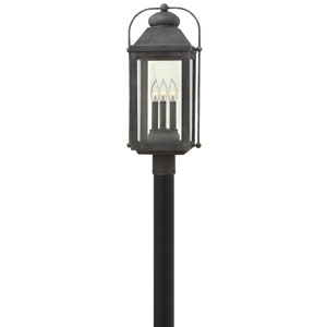 Anchorage Aged Zinc Three-Light Outdoor Post Mount
