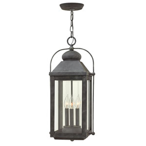 Anchorage Aged Zinc 11-Inch Three-Light Outdoor LED Hanging Pendant