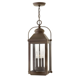 Anchorage Light Oiled Bronze 11-Inch Three-Light Outdoor Hanging Pendant