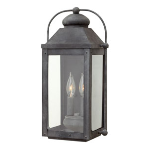 Anchorage Aged Zinc 9-Inch Two-Light Outdoor Medium Wall Mount