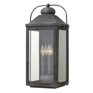 Anchorage Aged Zinc 13-Inch Four-Light Outdoor Extra Large Wall Mount