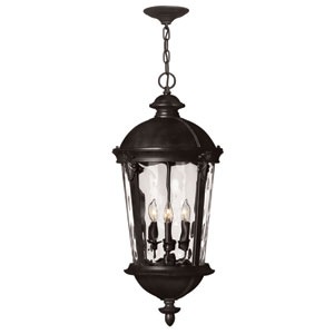 Windsor Black 28.5-Inch Four Light Outdoor Hanging Pendant