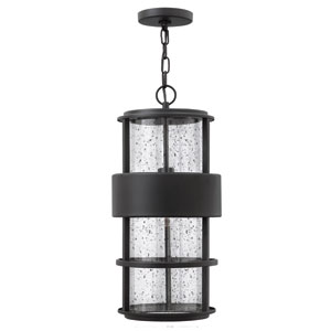 Saturn Satin Black One-Light Outdoor Pendant