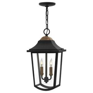 Burton Black Two-Light Outdoor Pendant