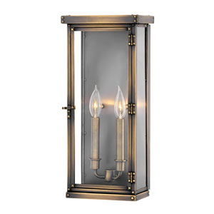 Hamilton Dark Antique Brass Two-Light Outdoor Large Wall Mount