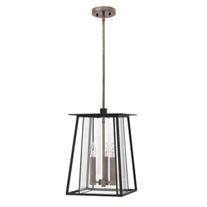 Walker Black 12-Inch Three-Light Outdoor LED Hanging Pendant