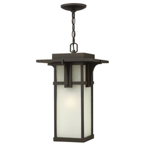 Manhattan Oil Rubbed Bronze 19-Inch LED One-Light Outdoor Hanging Pendant with Chain