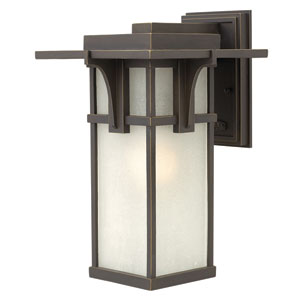 Manhattan Oil Rubbed Bronze 15-Inch LED Etched Seedy Glass One-Light Outdoor Wall Sconce