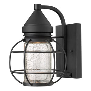 New Castle Black One-Light Halogen Outdoor Wall Light