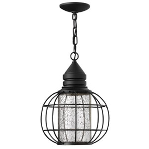 New Castle Black 15-Inch One-Light Halogen Outdoor Hanging Pendant
