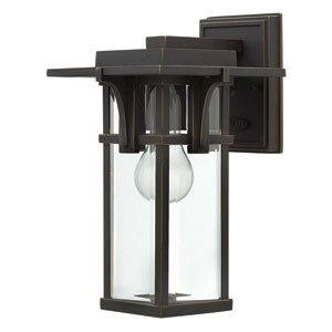 Manhattan Oil Rubbed Bronze 7-Inch One-Light Outdoor Wall Mounted