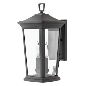 Bromley Museum Black 16-Inch Two-Light Outdoor Small Wall Mount