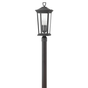 Bromley Museum Black 10-Inch Three-Light Outdoor Post Top and Pier Mount