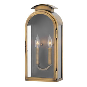 Rowley Light Antique Brass Two-Light Outdoor Medium Wall Mount