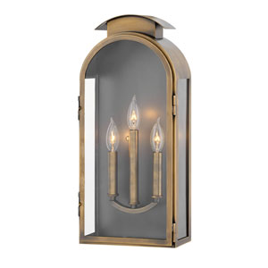 Rowley Light Antique Brass Three-Light Outdoor Large Wall Mount