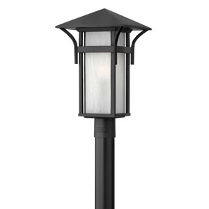 Harbor Satin Black 19.5-Inch Etched Seedy Bound Panels One-Light Outdoor Post Mount