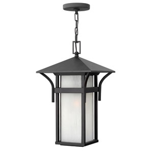 Harbor Satin Black 19-Inch One-Light Outdoor Hanging Pendant