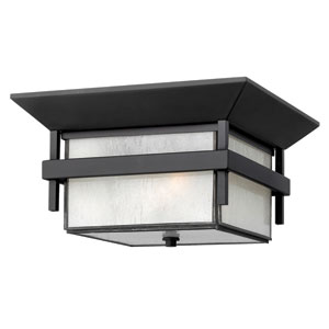 Harbor Satin Black 7-Inch Two Light Outdoor Flush Mount