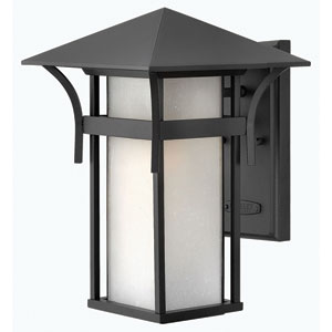 Harbor Satin Black 13.5-Inch Etched Seedy Bound Panel One-Light Outdoor Wall Light