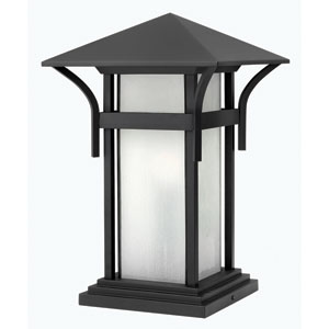 Harbor Satin Black 17-Inch One-Light Outdoor Pier Mount