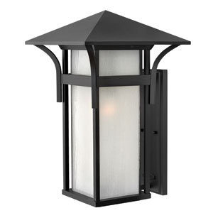 Harbor Satin Black 20.5-Inch One-Light Outdoor with Accent Bold Stripes Wall Light