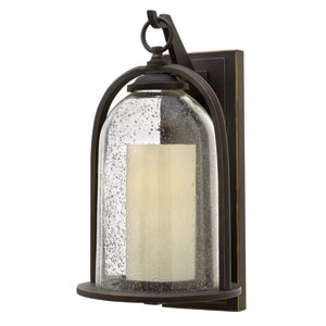 Quincy Oil Rubbed Bronze 9-Inch One-Light Outdoor Wall Mounted