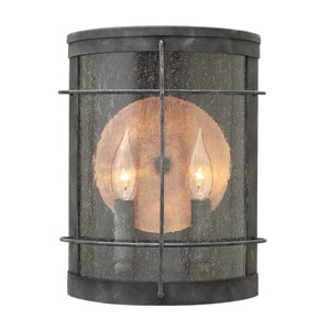Newport Aged Zinc Two-Light Outdoor Wall Sconce