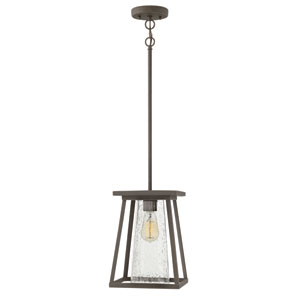 Burke Oil Rubbed Bronze Outdoor Pendant with Seeded Glass