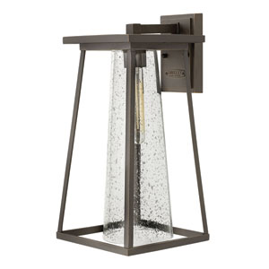 Burke Oil Rubbed Bronze 17-Inch Outdoor Wall Mount with Seeded Glass