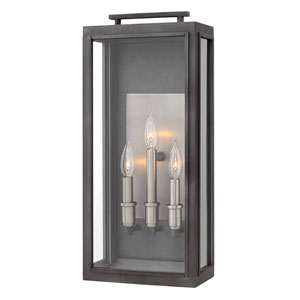 Sutcliffe Aged Zinc 10-Inch Three-Light Outdoor Large Wall Mount