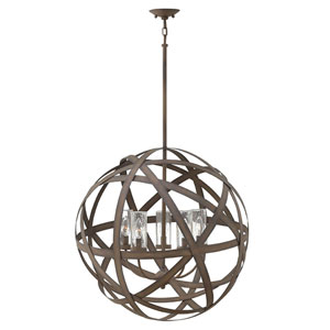 Carson Vintage Iron Three-Light Outdoor 19-Inch Outdoor Chandelier