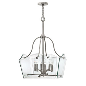 Wingate Polished Antique Nickel Six Light Chandelier