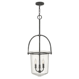 Clancy Aged Zinc Three Light Foyer Pendant